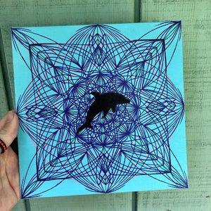 Handmade Dolphin Mandala Painting Original